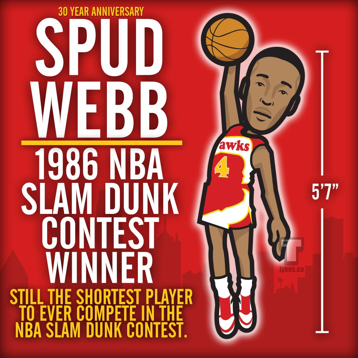 "Tykes on Twitter ""Spud Webb ""Slam Dunk Champion"" 30th Anniversary"
