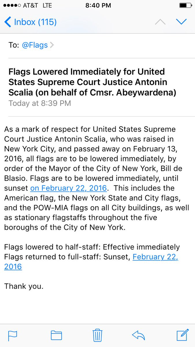 New York City flags coming to half-staff for Scalia per Mayor @BilldeBlasio and @globalnyc Cmsr. @PAbeywardena.