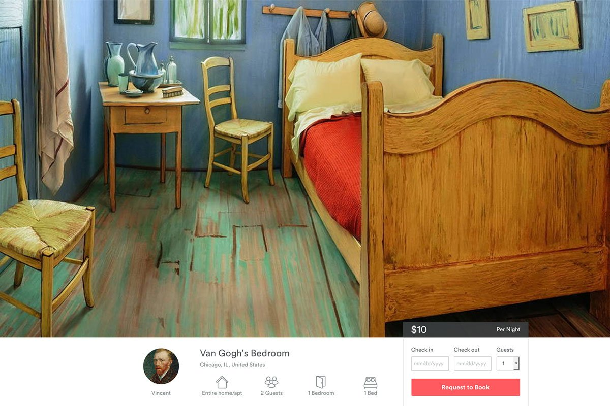Spend a night in Van Gogh's bedroom, courtesy @Airbnb and @artinstitutechi https://t.co/wVlApflum1 https://t.co/y9O6EmSEir