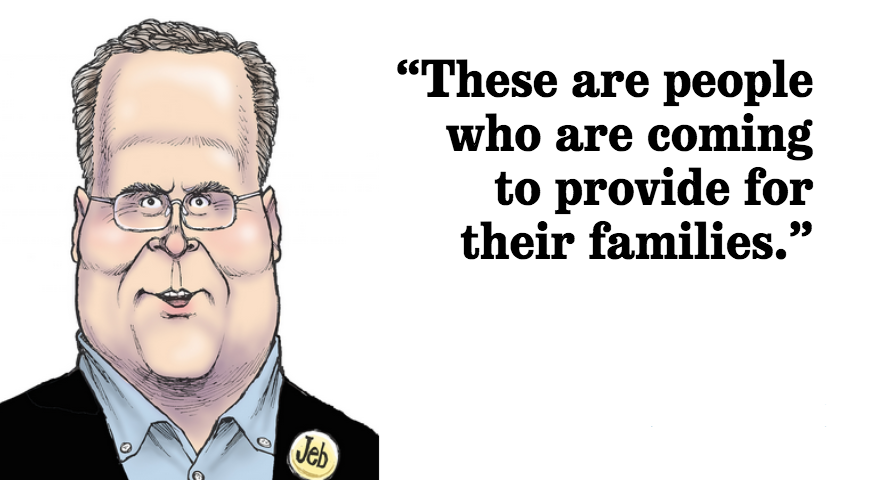 Jeb Bush said it's important to control the border, but also to respect those who come across the it illegally