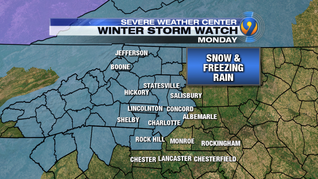 WINTER STORM WATCH issued. Eastern counties not in yet but that will likely change. Stay tuned for latest CLTIce