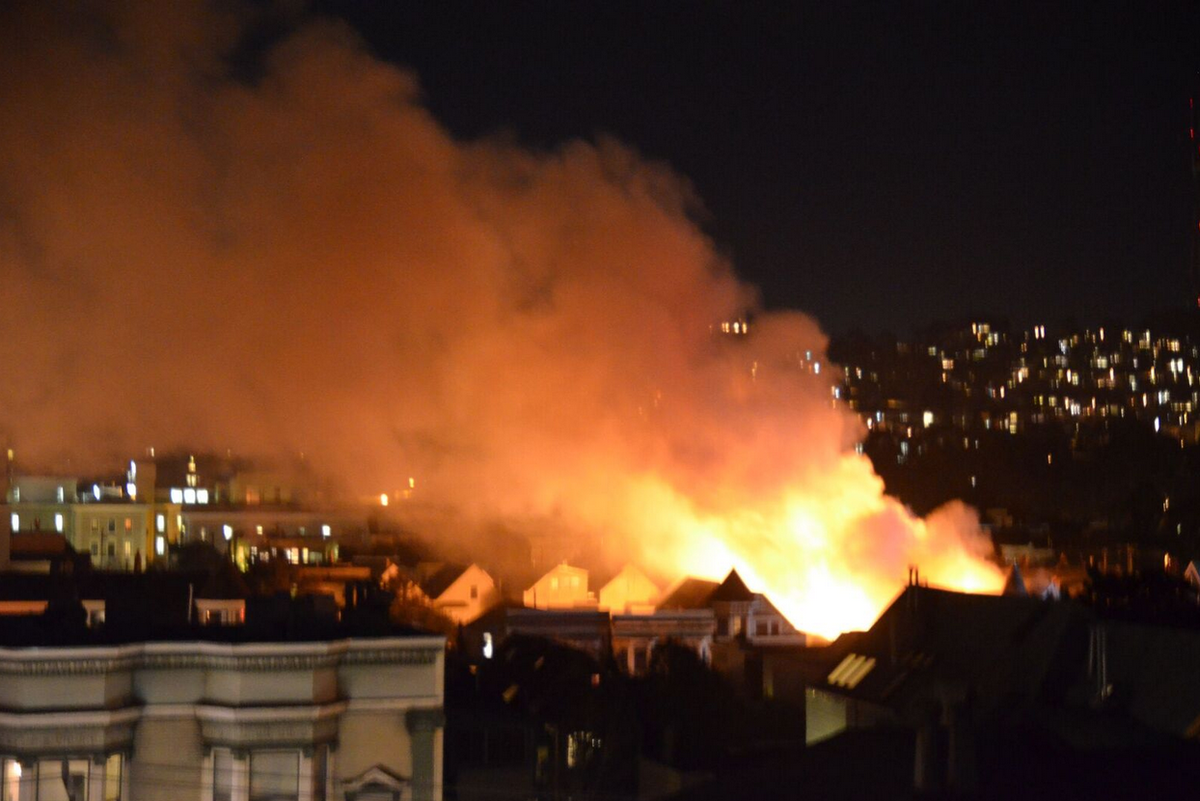 3 alarm fire at Fulton & Baker SF.