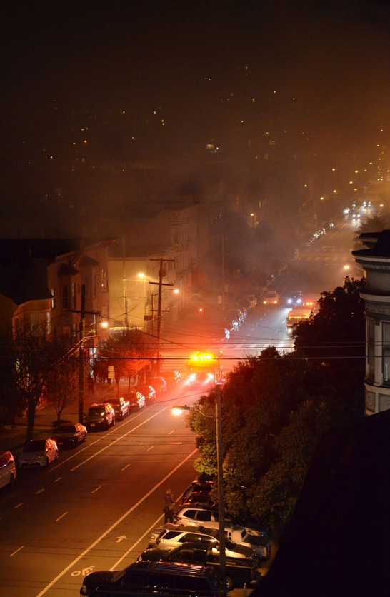 Street view near fire at Fulton & Baker SF.