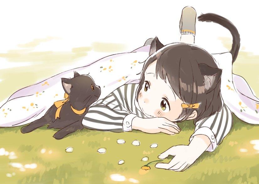 友達の黒猫が黄色いリボンつけててかわいすぎた絵