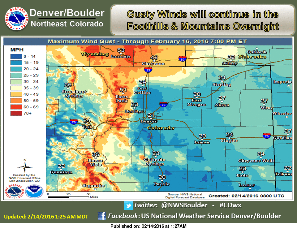 Gusty Winds will continue in the Foothills & Mountains overnight. cowx