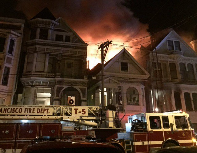 16 people displaced, 1 injured in three-alarm fire on Fulton Street in SF