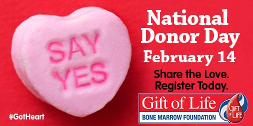 Today isn't just Valentine's Day. It's also #NationalDonorDay, so register to be a #marrowdonor & help save a life! https://t.co/EzHlL05VAM
