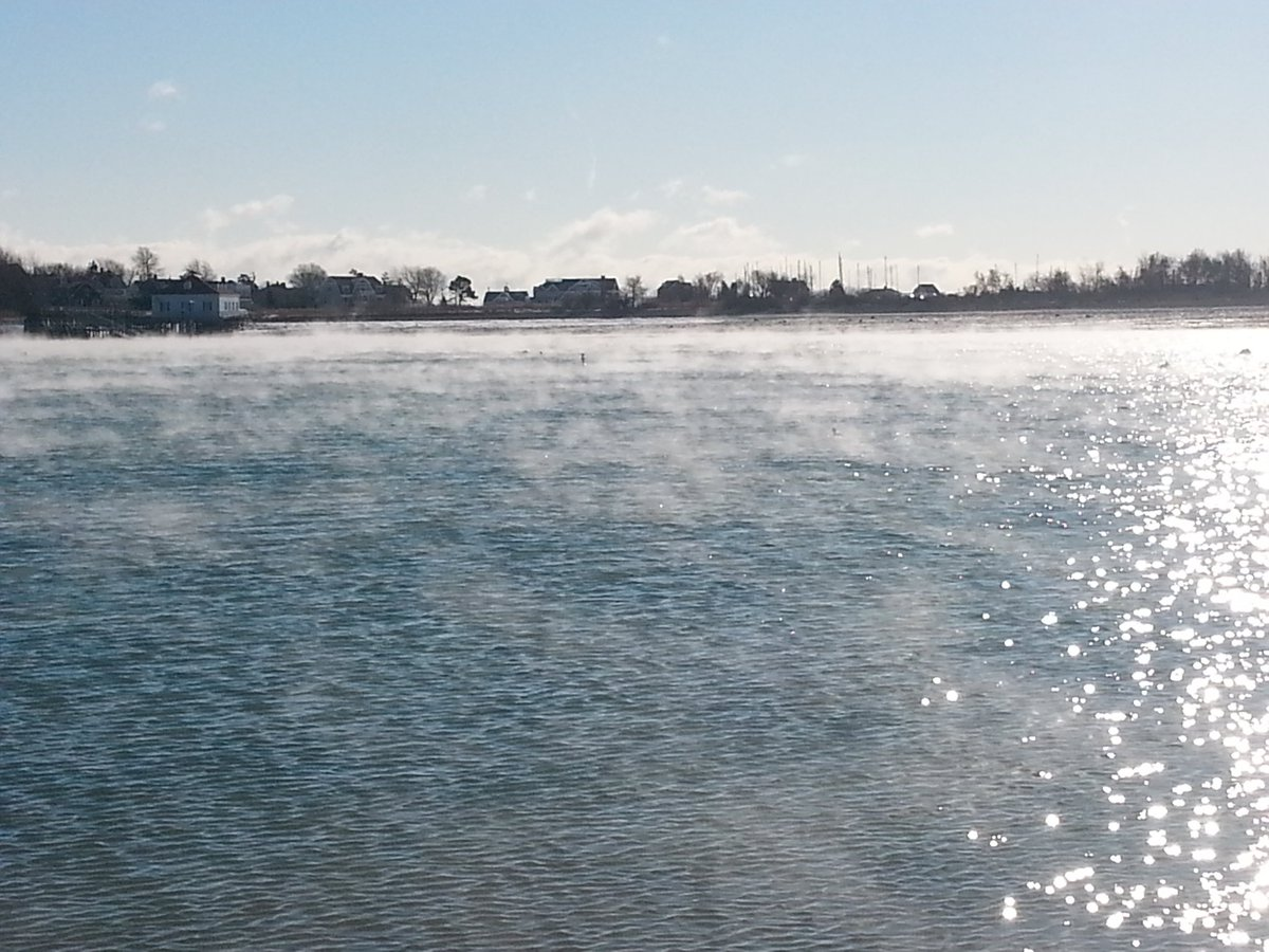 Cold air blowing over warm ocean water is creating this sea smoke. wcvb