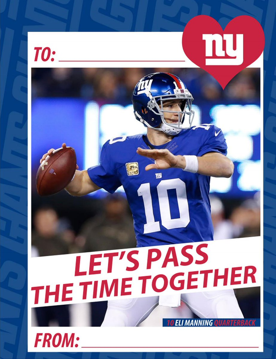New York Giants on Twitter Get your Giants Valentines Day – Football Valentines Day Cards