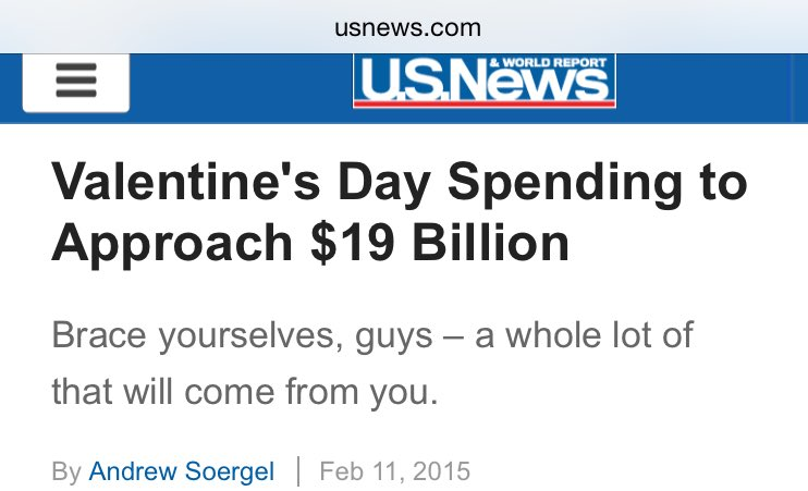 Don't forget, America. You spend as much money on Valentine's Day gifts as NASA spends the entire year. ❤️✔️
