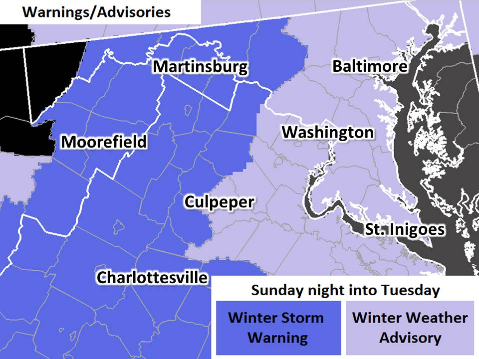 Winter Weather Advisory issued for Alexandria, Virginia by the National Weather Service (Image via @NWS_BALTWASH on Twitter)