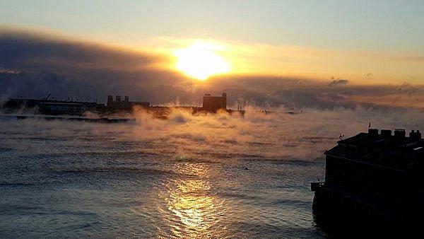 Arctic Cold Leads To Sea Smoke Over Boston Harbor