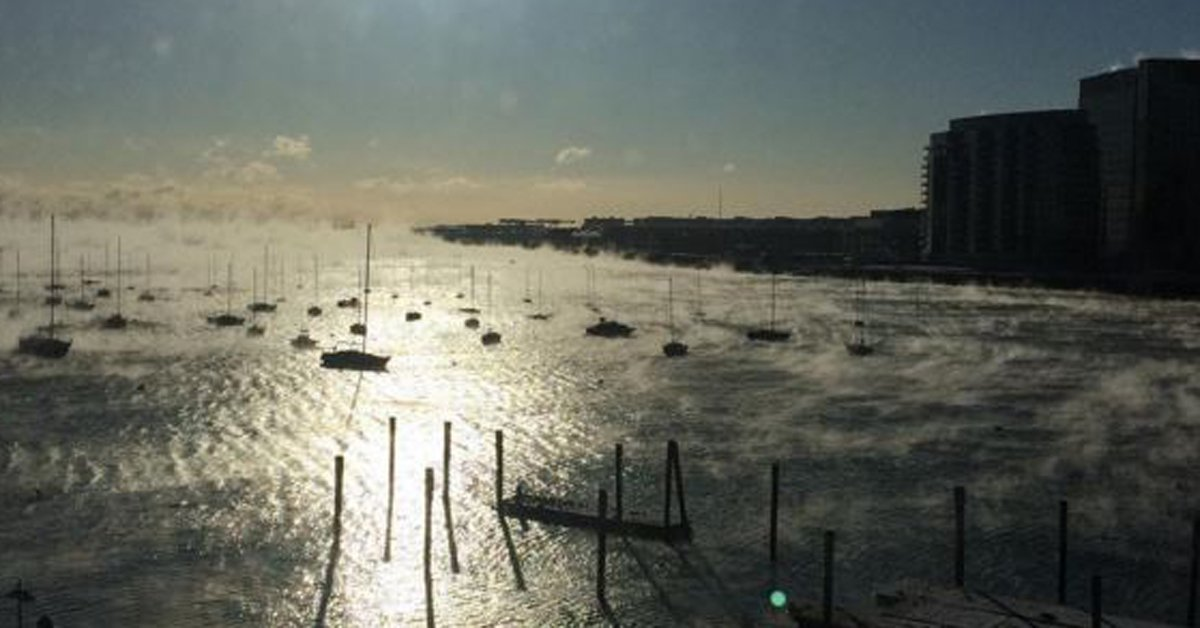 Yes, that's steam rising from Boston Harbor