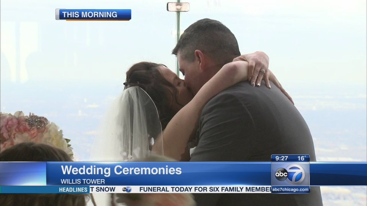 WATCH: Couples marry at the top of the Willis Tower on ValentinesDay: @SkydeckChicago