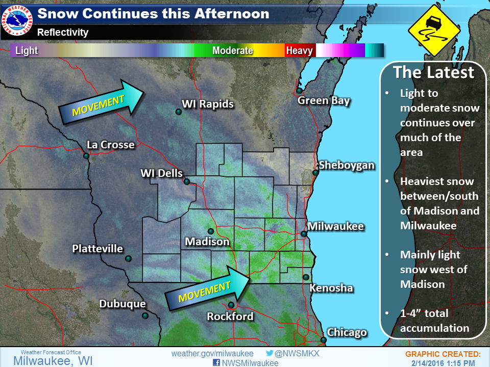 Light to moderate snow continues, exercise caution if traveling swiwx