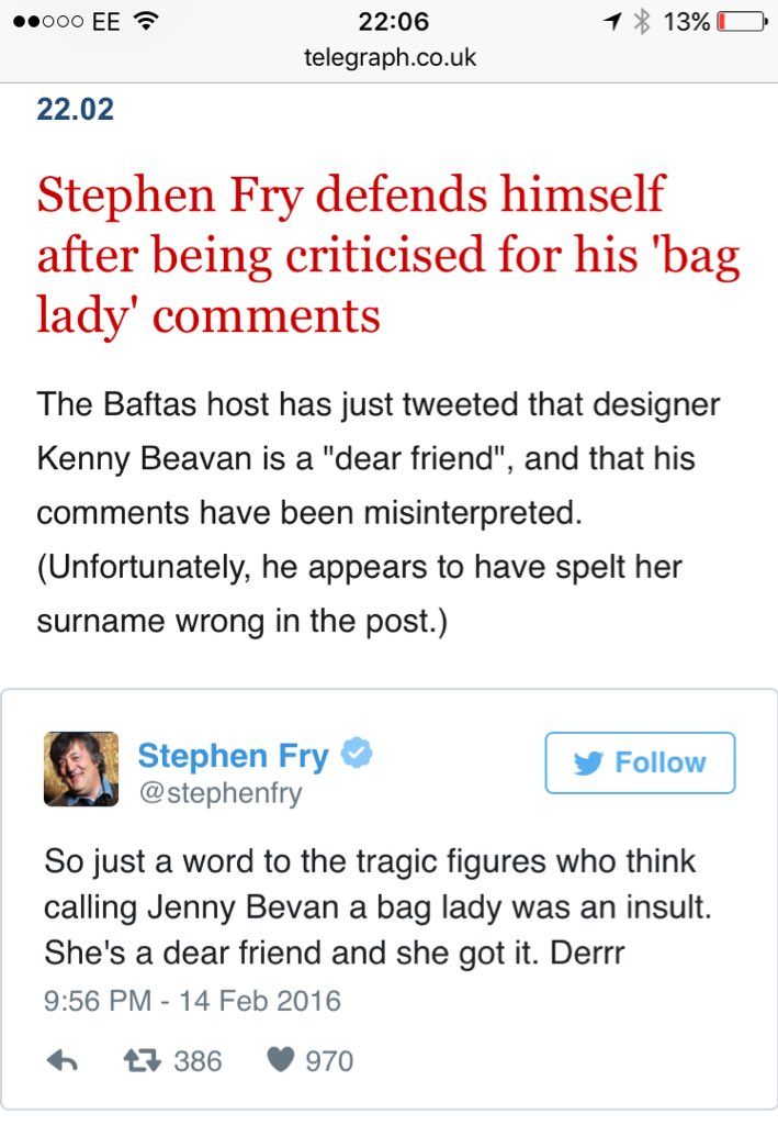 RT @joelycett: Yes of course @Telegraph, cause it's actually spelt 'Kenny Beavan' https://t.co/a6ko0Dii7t