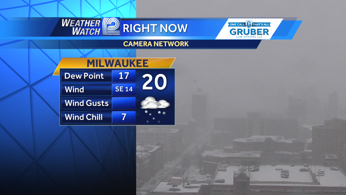 Can't see the city skyline right now --- moderate snow falling in Milwaukee