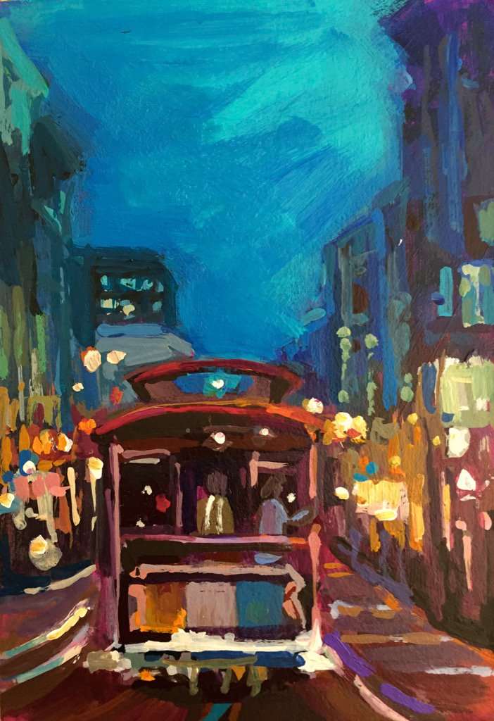 """Nighttime Ride to Union Square"" 4""X 6"" #twitterartexhibit #art https://t.co/o83butSh76"