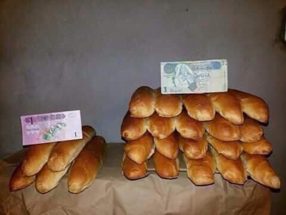 Price of bread illustrated by the old and new Libyan dinar: 20 loaves per dinar under Gaddafi, 5 now. https://t.co/qyXntv7SWO