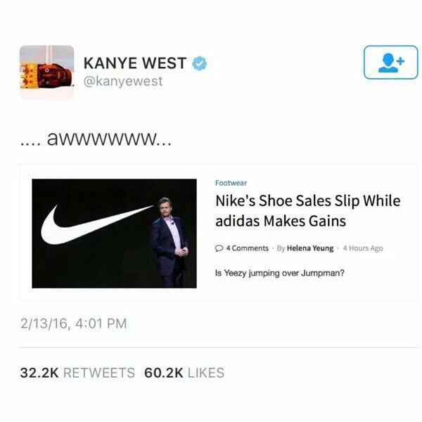 Now this is what you call a comeback!  Nike: 1 | Kanye West: 0 https://t.co/TyjGdCTDEa