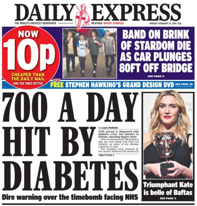 Front page news this morning. How our new book of tips can support ppl living with diabetes: https://t.co/4OaW7bJc2J https://t.co/UjK09JBl1n