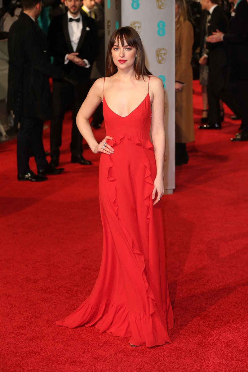 Dior On Twitter Dakota Johnson Was Wearing A Red Dress At The Annual British Academy Awards In London Baftas Starsindior Https T Co B9qqx3hskj