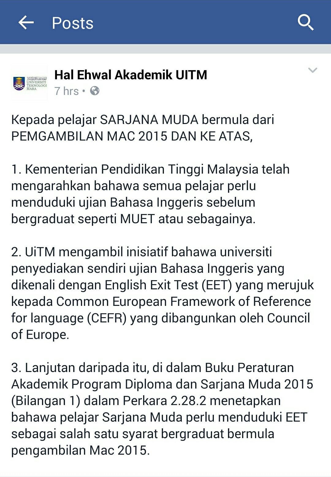 Dubu On Twitter Important Note To Uitm Degree Students Intake March 2015 And Above Https T Co E90ykddjpz