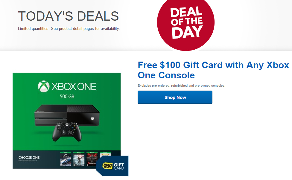 Best Buy DOTD: Xbox One with $100 Gift Card | NeoGAF