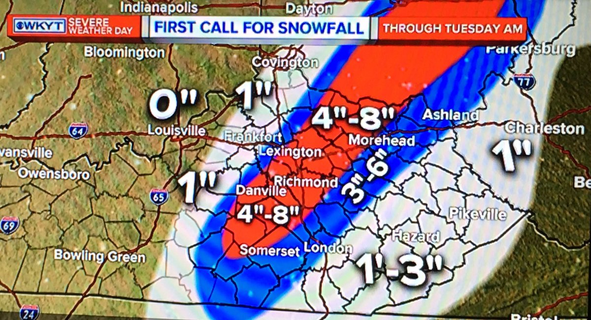 Wkyt Weather Map.Wkyt On Twitter Here S Kentuckyweather S First Call For Snowfall