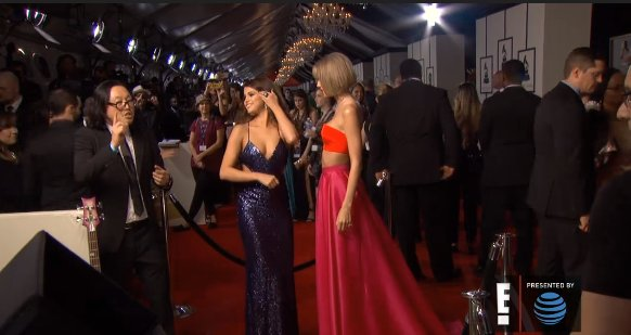 Taylor Swift and @selenagomez just arrived at the #GRAMMYs on @eonline red carpet cam. https://t.co/N1MISVLGqc