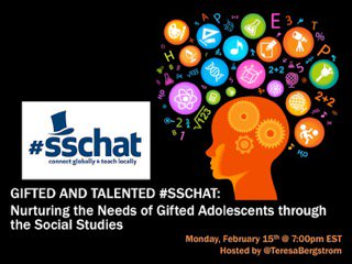 Join #sschat Tonight 7-8 PM EST as we discuss teaching gifted children #gifted #sstlap @TeresaBergstrom https://t.co/w0uQXA6d9m