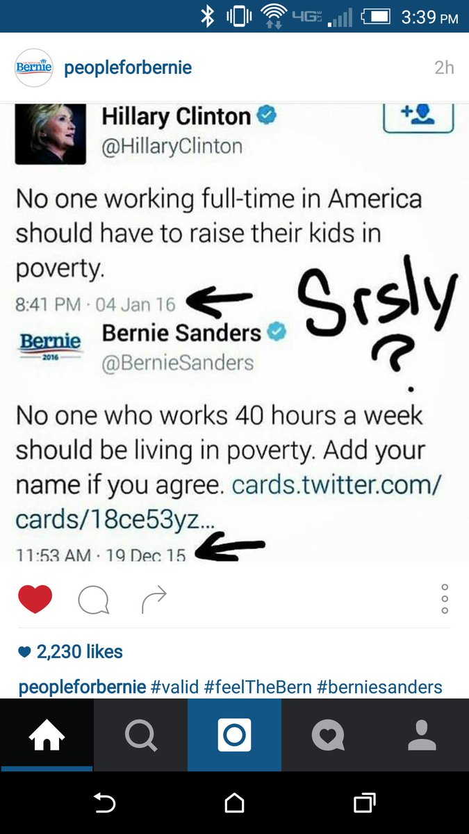 Unbelievable @HillaryClinton stealing @SenSanders tweets! CC @People4Bernie https://t.co/f6ANy0hgdq