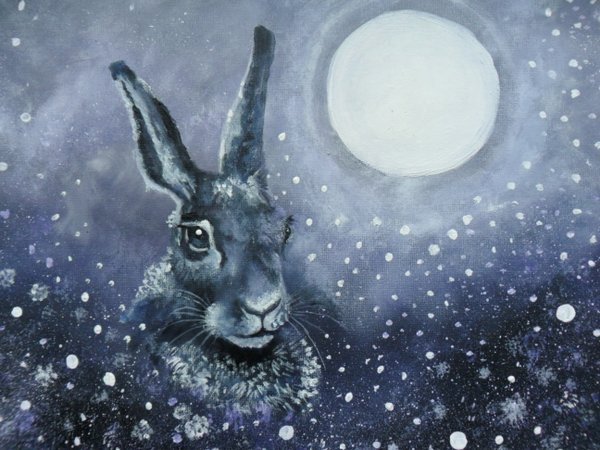"""Hare & Moon"" acrylics on canvas 15 x 12"" by @superc0smic #TwitterFirstFriday #rabbits https://t.co/pdazl5UQgO https://t.co/LIrjsmG8r3"