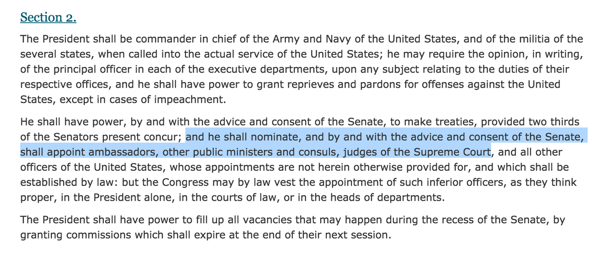 1 Until Jan. 20, 2017, it's @POTUS' job to nominate Supreme Court justices—it's right there in the Constitution. -H