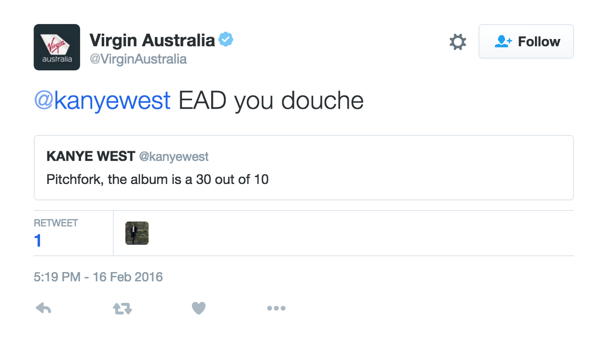 Wow, @VirginAustralia REALLY don't like @kanyewest. https://t.co/NL6LJEsZWZ