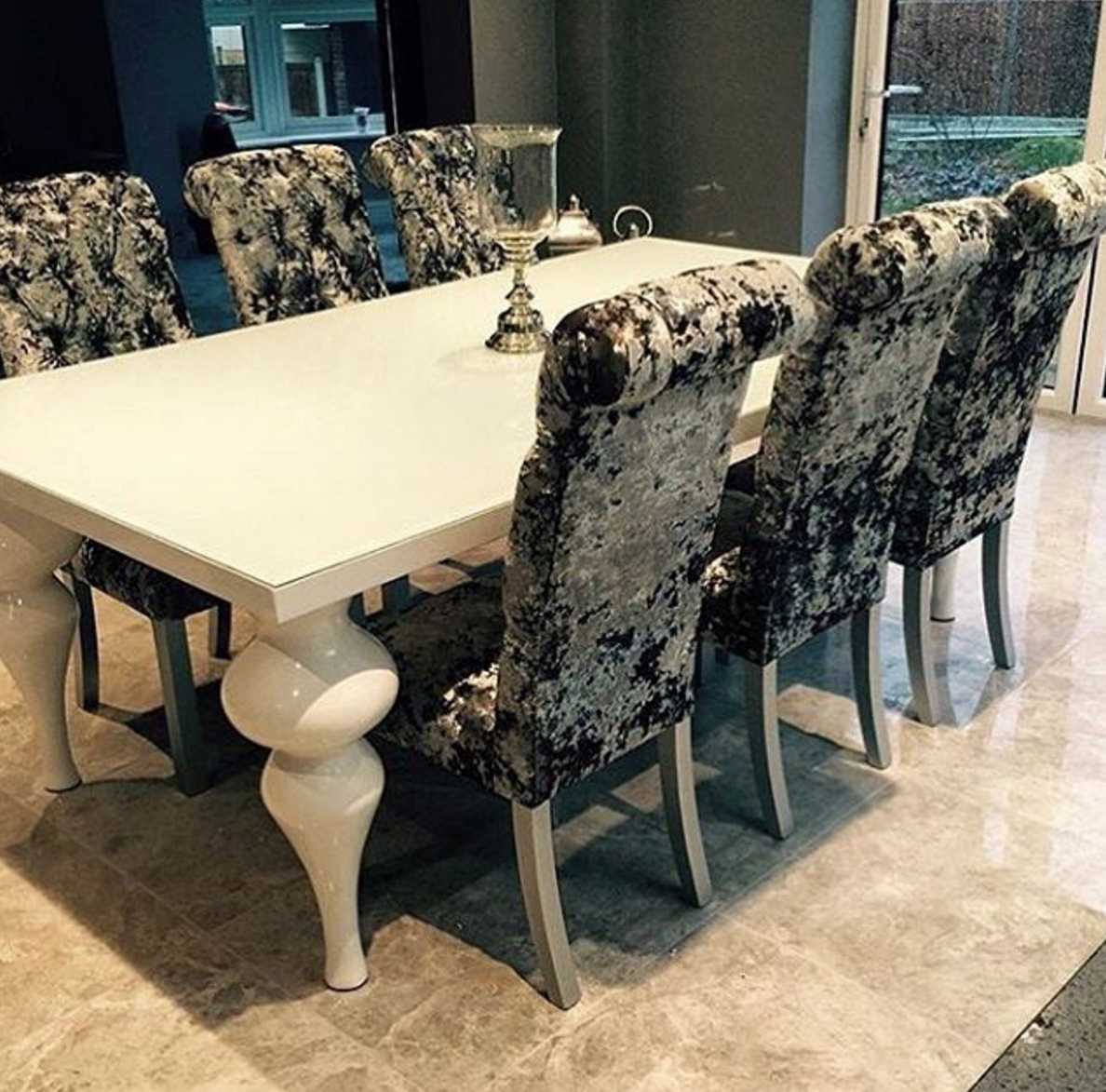 Tides Home \u0026 Garden on Twitter \ This beautiful white hi gloss dining table with crushed velvet dining chairs available now. //t.co/FEfiEwgdFc ... & Tides Home \u0026 Garden on Twitter: \