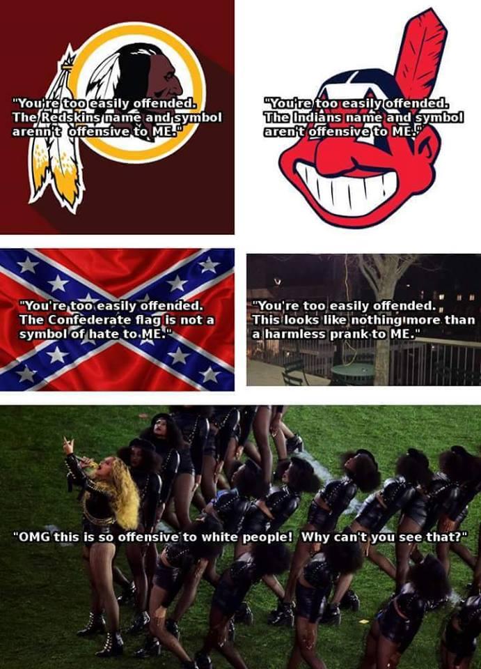 【ビヨンセを非難する白人たちの思考回路】 レッドスキンズに関してもインディアンズに関しても南部連合旗に関しても、木の枝から吊るした縄に関しても、「そんなに目くじら立てなくても」と言ってきた人々が、あのパフォーマンスを非難する。 https://t.co/womZnvq9tT