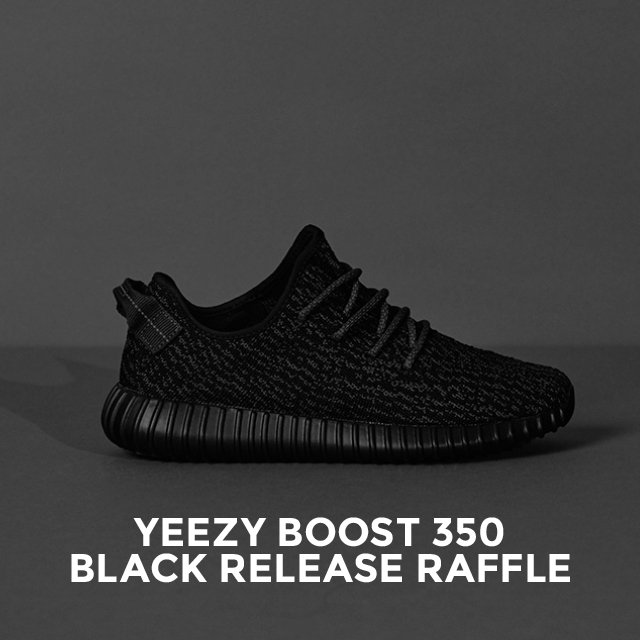 To buy a pair of Yeezy Boost 350 Black, you'll need to enter our release raffle. Good luck! https://t.co/ZN6FtQAESq https://t.co/qRpYsIoUY4