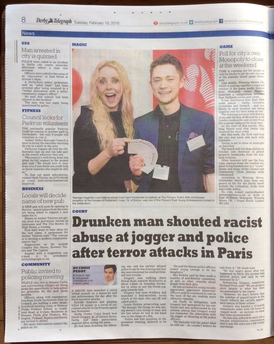 Delighted to see this pic with @carolvorders in today's @DerbyTelegraph & @BurtonMailNews!