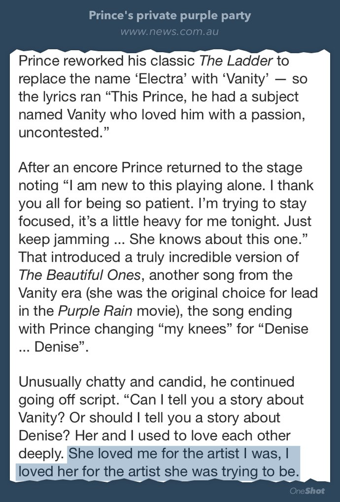 Prince opening up more....