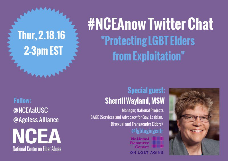 Thumbnail for 2/18/16 #NCEAnow Chat: Protecting LGBT Elders from Exploitation