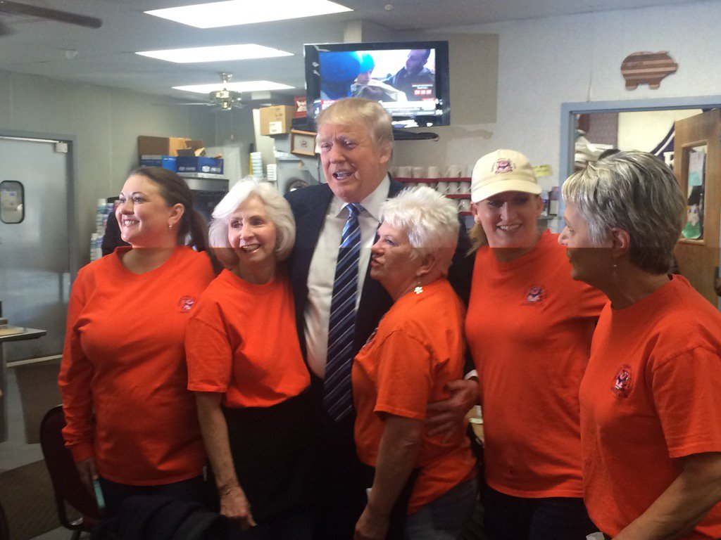 Donald trump is having breakfast this morning at tommy's ...