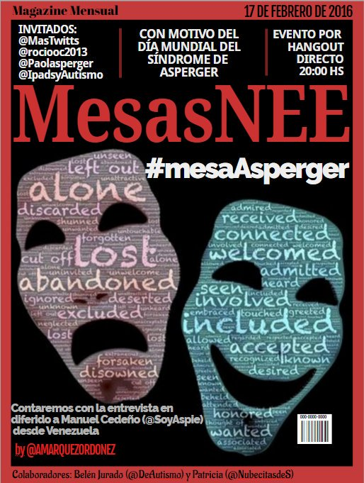 Hoy17 Feb> Hangout Mesa #Asperger #mesaAsperger, por @mesasNEE https://t.co/mmUfkVVwn3 #18FAsperger #autismo https://t.co/BlK2zco3xP