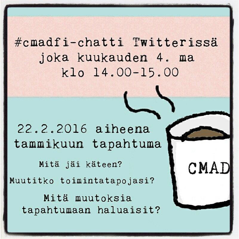 Tule ensi maanantaina Twitter-chattiin puhumaan #cmadfi'sta!   #twitterchat #somefi #yhteisömanageri https://t.co/mD24frQKGn