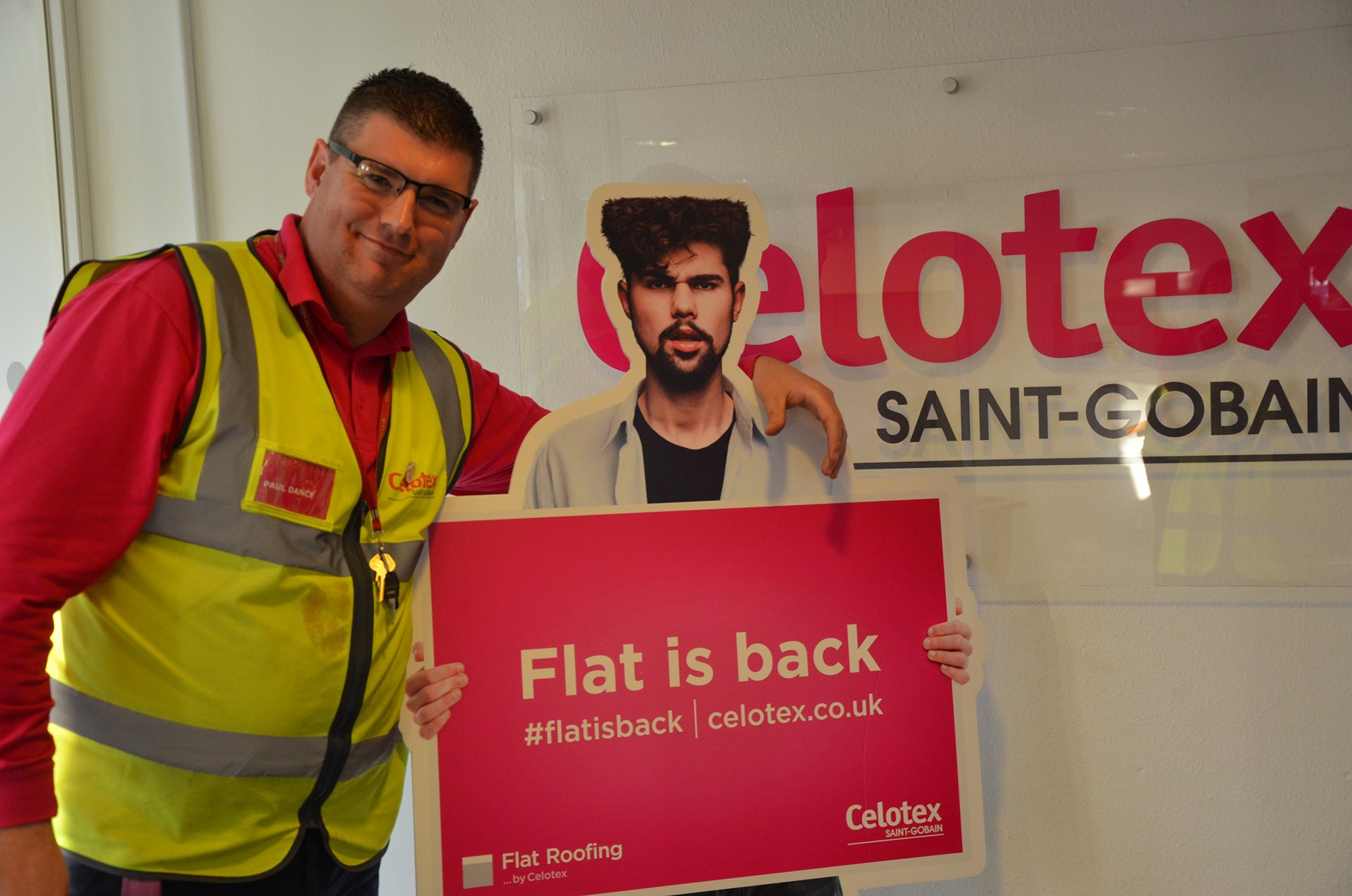 Our Manufacturing Manager, Paul Dance with Cardboard Stu! Paul supports #flatisback! https://t.co/asHGQACZvK https://t.co/9jDiwQY6BG