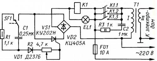 Схема электронного сигнализатора поклевки