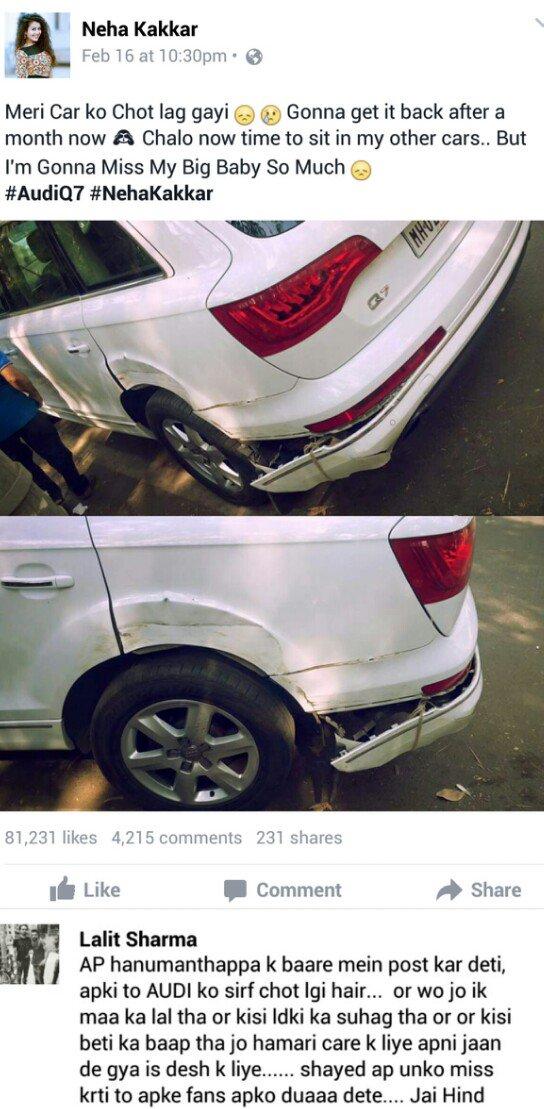 Neha Kakkar On Twitter Meri Car Ko Chot Lag Gayi Https T