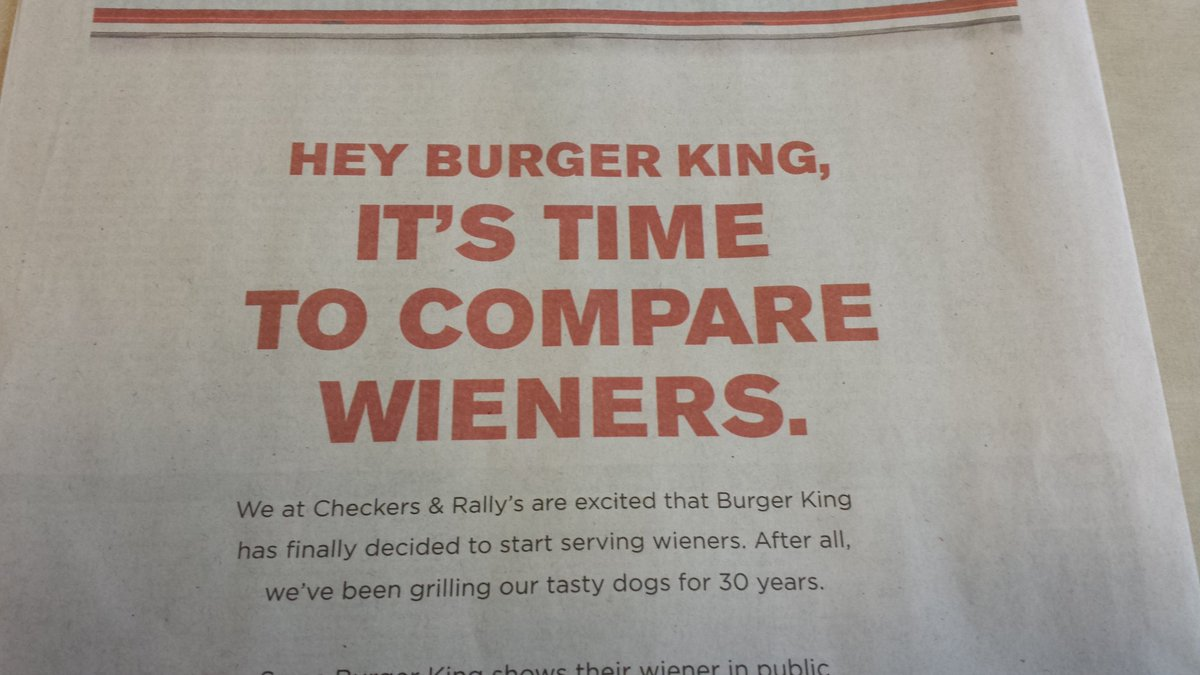 Today's ad from Rally's and Checkers targeting Burger King's weiner #weinersmackdown https://t.co/EEqKdKh7tM