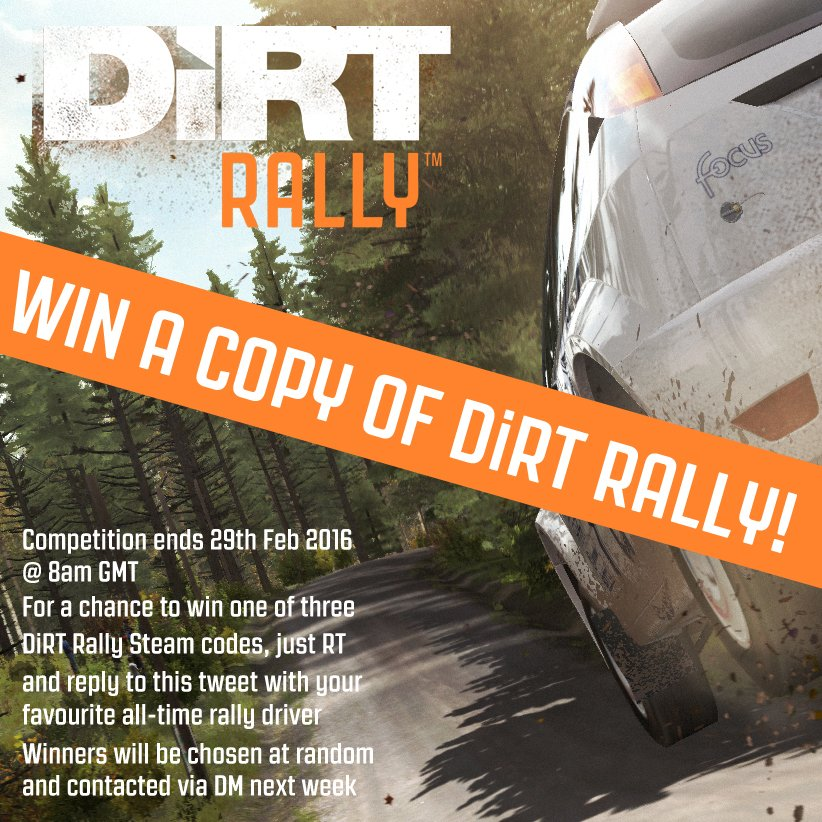 Fancy winning a copy of DiRT Rally? Just RT & reply with your favourite all-time rally driver to be in with a shout! https://t.co/x6Cp04HYNA
