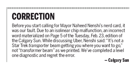 Correction of the day goes to @calgarysun and its very nerdy apology to @nenshi #journalism https://t.co/tHGh7b50PA